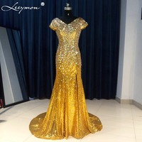 E51 Shiny Mermaid V Neck Long Sleeve Beads Crystal Rhinestone Long Engagement Prom Red Evening Dress