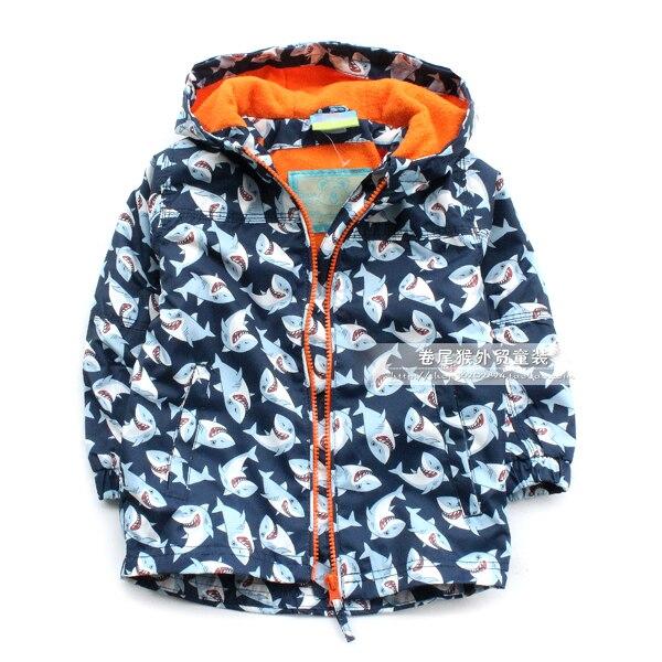 Дети/Мальчики Осень/Весна флисовая подкладка ветрозащитная куртка, Акула печати, размер 92 до 122