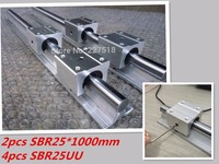 25mm linear rail SBR25 1000mm 2pcs and 4pcs SBR25UU linear bearing blocks for cnc parts 25mm linear guide