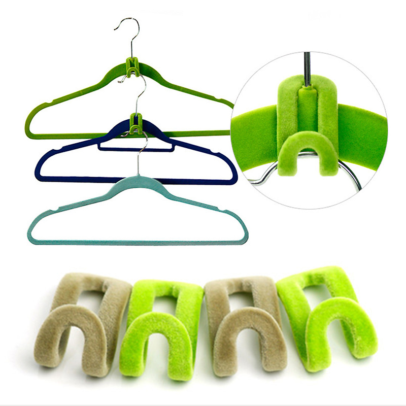 10PCS Portable Pile Coating Unisex Mini Clothing Hook Rack Connecting Hook Clothes Accessories Random Color