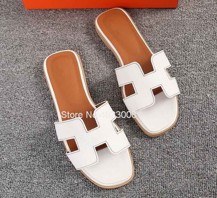 New Women Slippers Summer Flat Travel Shoes Fashion Beach Slipper Female Shoes Casual Hot Solid Genuine Leather Sandals Slippers 1