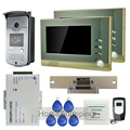 "Free Shipping Home Doorphone 7"" TFT LCD Video Door Phone Intercom System + 1 RFID Access Door Camera + 2 Monitor + Strike Lock"