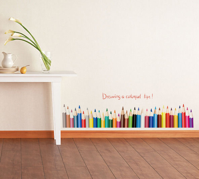 Kids Bedroom Background aliexpress : buy pencil waist skirting line diy wall stickers