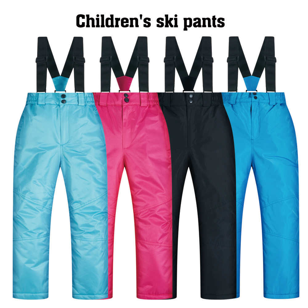 Kayak pantolonu çocuklar erkek ve kız açık kalınlaşmak rüzgar geçirmez su geçirmez sıcak kar çocuk pantolonları kış kayak ve Snowboard pantolon