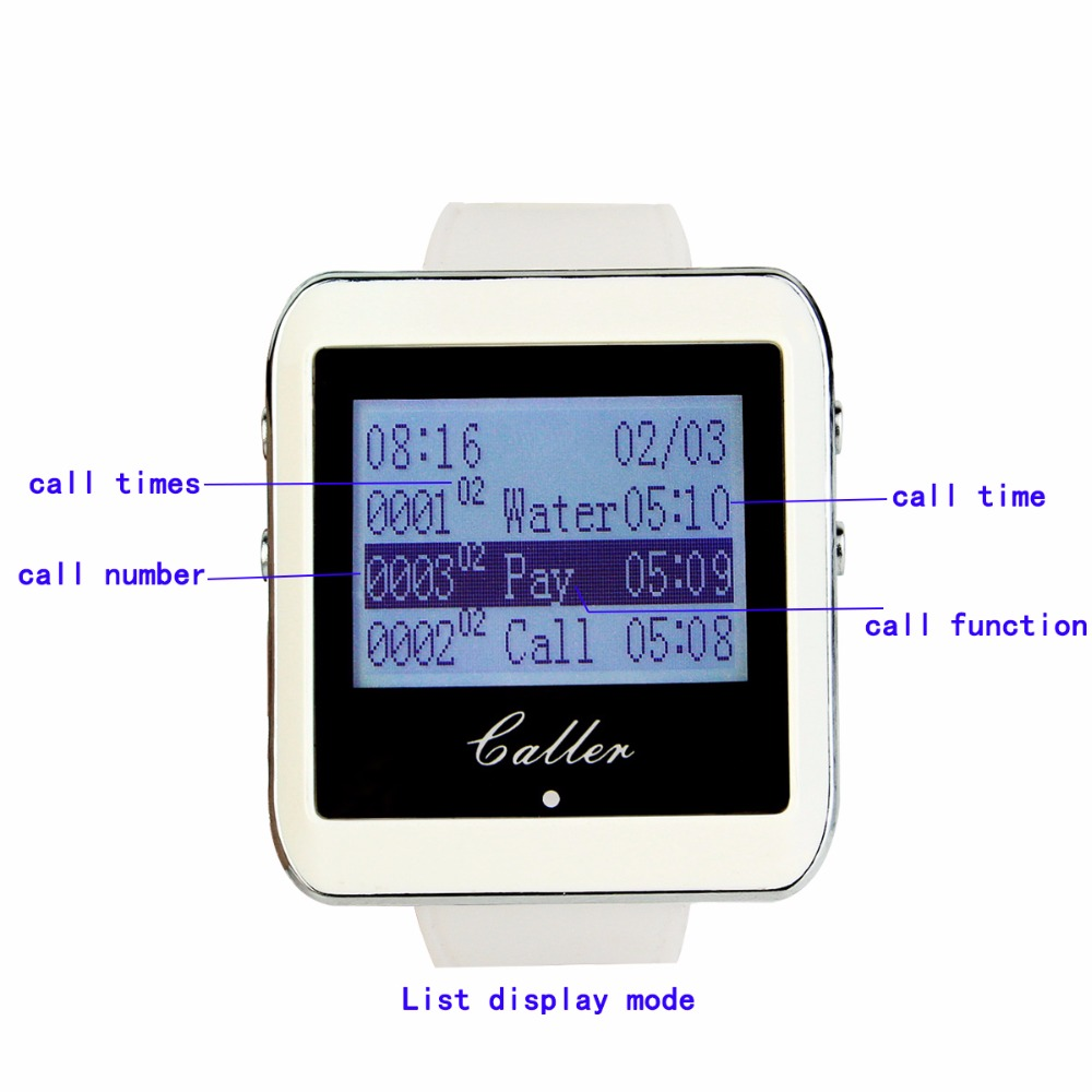 999 Channel Wireless Pager Restaurant Waiter Calling System 10pcs Call Transmitter Button T117 + 1pcs Watch Receiver 433MHz