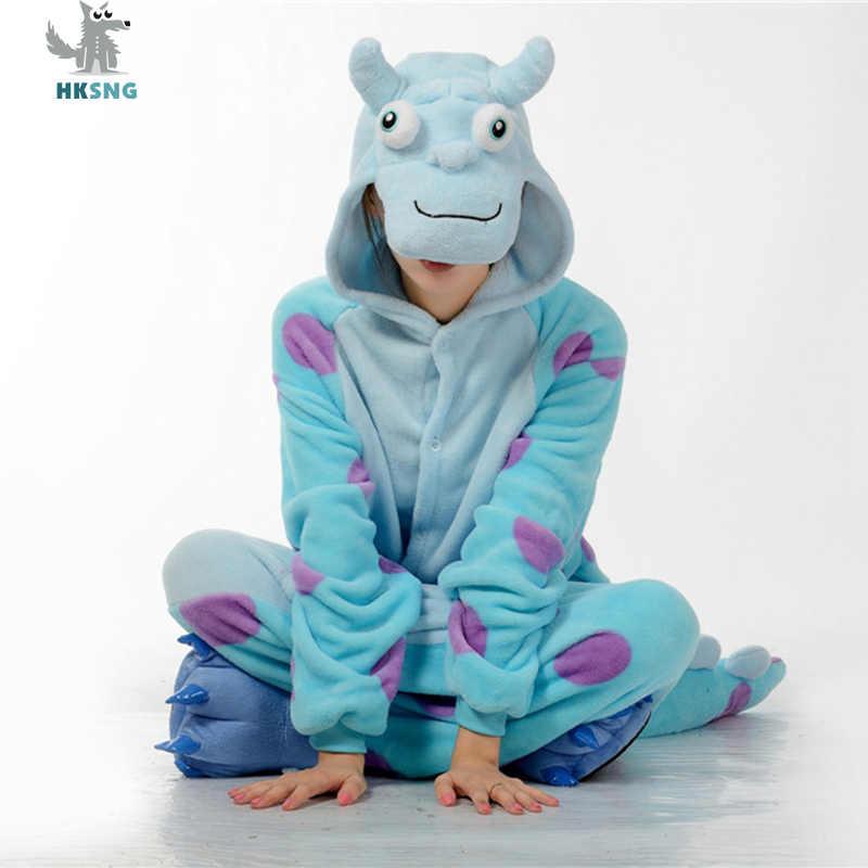 HKSNG yetişkin hayvan James Sullivan yetişkin Sully Onesies Sangan pijama flanel aile parti giysileri tulumlar gecelik Kigurumi