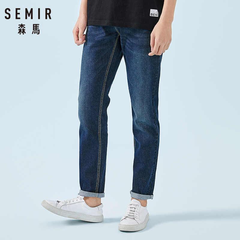 SEMIR Retro Jeans para hombres vaqueros Skinny lavado de algodón suave vaqueros Slim elástico Hombre clásico elegante pantalones vaqueros Pantalones