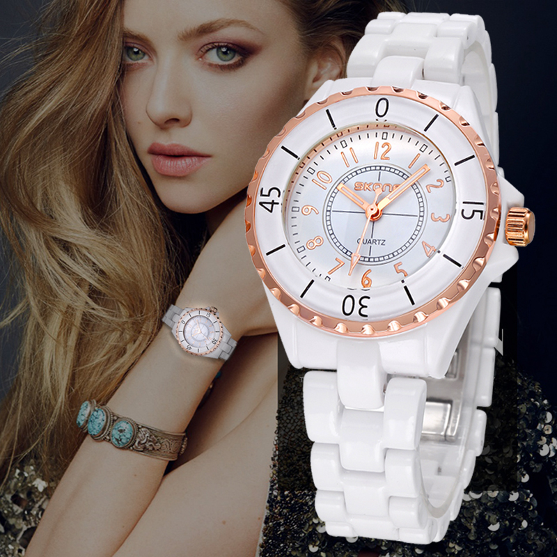 SKONE Ceramics Watch Fashion Diamond Watch Women Luxury Brand Imitation Ladies Geneva Quartz Watch Clock Female Relogio Feminino kimio brand fashion luxury ceramics women watches imitation clock ladies bracelet quartz watch relogio feminino relojes mujer