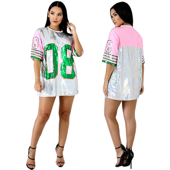 2019 AKA O-Neck Shirt custom ladies new style sequin hip hop t-shirts