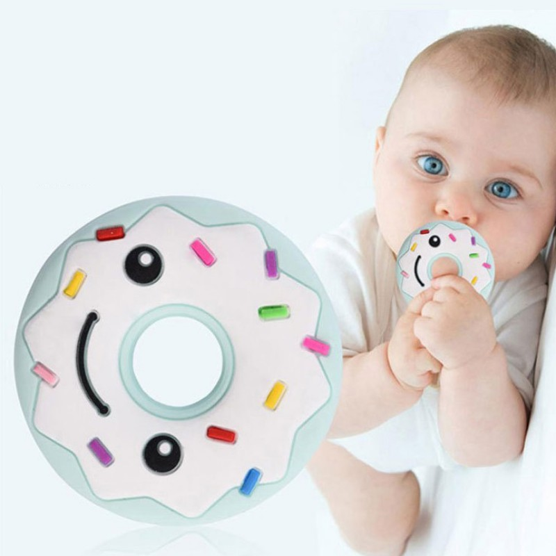 Silicone Donut Teether Soft Silicone Teethers Teething Pendant Necklace BPA Free Baby Chew Toy Cute Baby Smiling Face