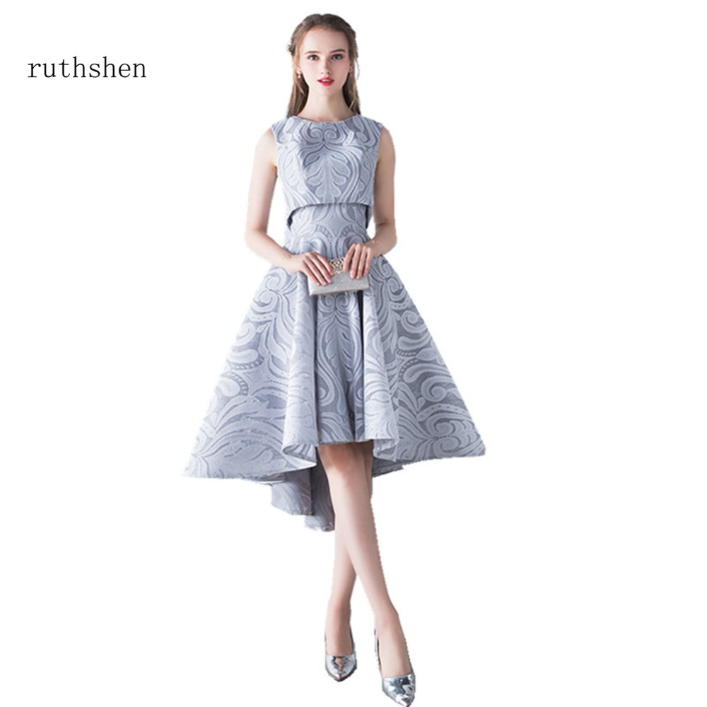 ruthshen 2018 New Sexy Two Pieces Prom Dresses Sleeveless Lace High Low Formal Evening Gowns For Girls Special Parties Dresses