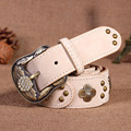 New Women's Band Cowskin Pigskin Rhinestone Leather Brass Pin Diamond Buckle Vintage Top Quality Female Belts For Jeans Pants