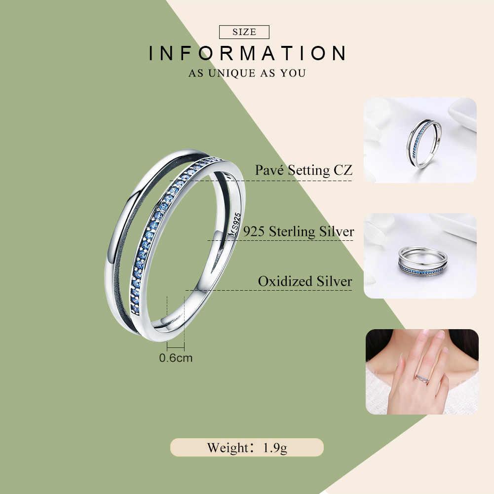BAMOER Лидер продаж 100% Серебро 925 пробы стекируемые синий CZ двойной круг многослойное кольцо для Для женщин бижутерия из натурального серебра SCR293