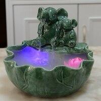110 В 240 В светодиодный мини фонтан увлажнитель распылитель рабочего аквариума фэн шуй Лаки Слон Творческий дом декор