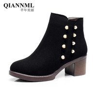 QianNML New 2018 Fashion Winter Snow Boots High Heels Shoes 6CM Women Boots Rivet Pearl Martin