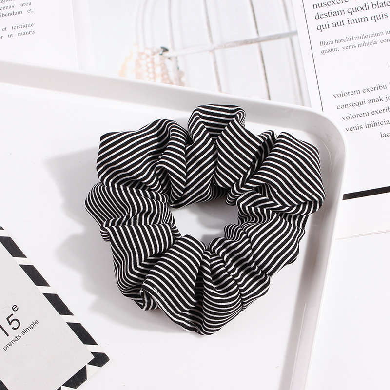 Polka Dot Stripe Lattice Cloth Scrunchie Women Girls Elastic Hair Rubber Band Accessories For Women Tie Hair Ring Rope Headdress in Women 39 s Hair Accessories from Apparel Accessories
