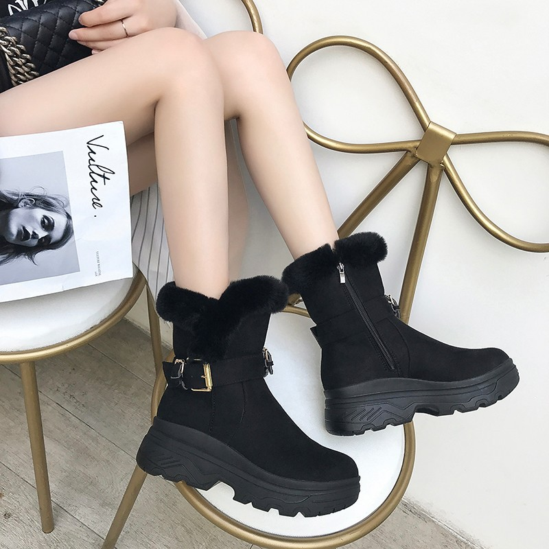 SWYIVY Flock Winter Boots Platform Female 2019 Winter Warm Velvet Fur Female Shoes Casual Side Zipper High Top Snow Boots Shoes