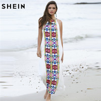 SheIn Women Summer Long Dresses Casual Multicolor Sleeveless Placement Print Keyhole Back Beach Wear Loose Maxi