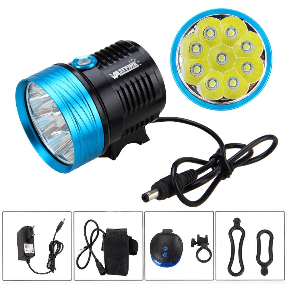 ФОТО 20000LM 9X XML T6 LED Head Front Bicycle Light Bike Headlamp Torch + 20000mAh Battery+ Rear Light
