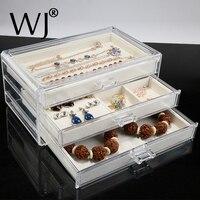 Haut de gamme Boîte De Rangement En Acrylique avec Tiroir et Bijoux Affichage Plateaux Boîte pour Anneau Boucles D'oreilles Bracelet Collier Pendentif Titulaire Organisateur
