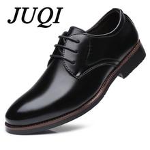 JUQI Men Dress Shoes Lace-Up High Quality Oxford Fashion Business Wedding Big Size 38-48