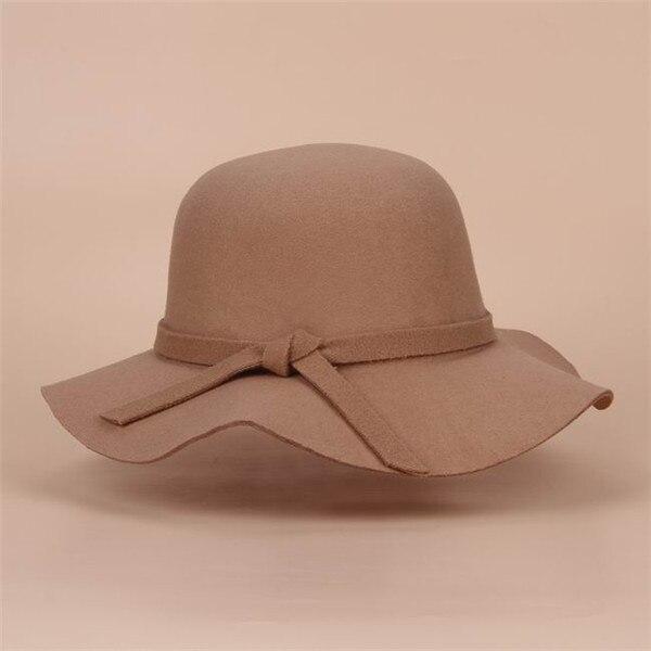 Стиль, мягкая детская шляпа от солнца в винтажном стиле с широкими полями, шерстяная фетровая шляпа-котелок Fedora, широкополая шляпа для девочек, большая шляпа для детей 3-7 лет - Цвет: khaki