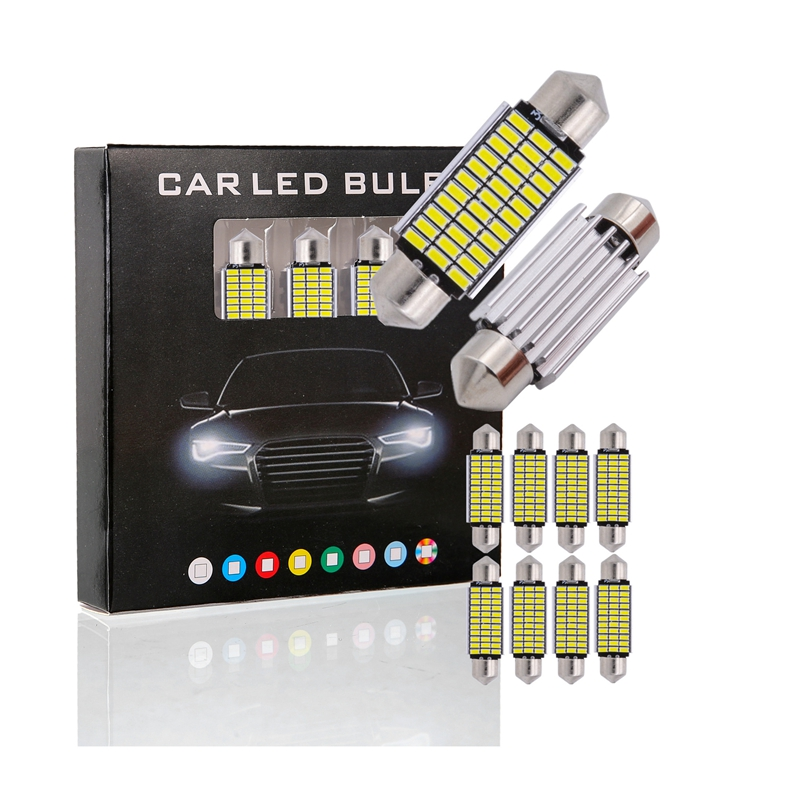 10PCS FESTOON 31mm 36mm 39mm 42mm LED Bulb C5W C10W CANBUS No Error DC 12V White Color 4014 SMD Car Dome Light Auto Lamp