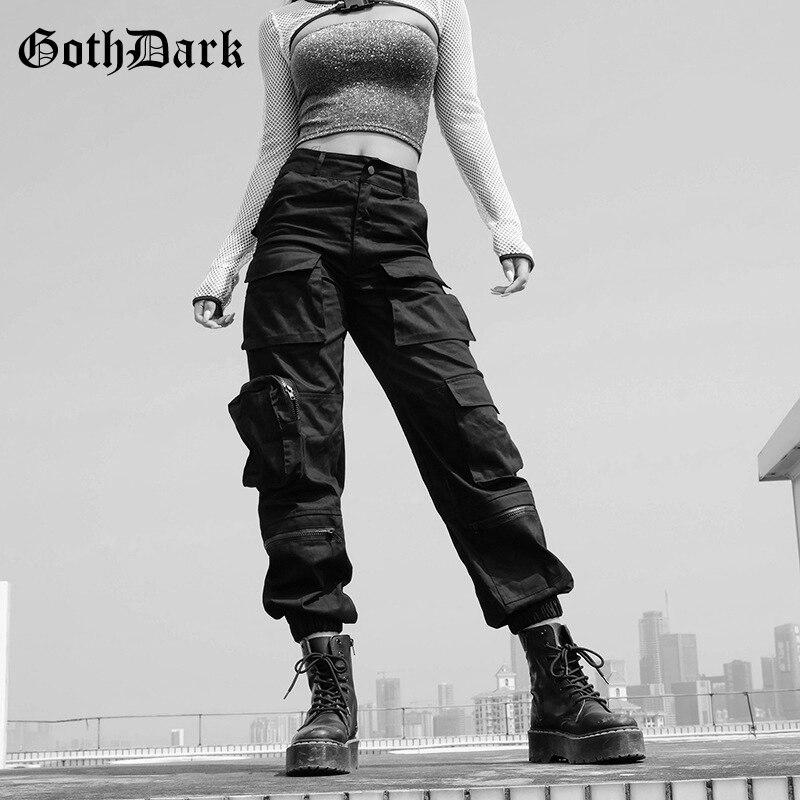 Goth Dark Black High Waist Pleated Gothic Trousers Pockets Harajuku Autumn 2019 Fashion Cargo Pants Patchwork Zipper Asymmetric