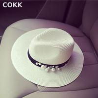 2016 New Spring Summer Hats For Women Flower Beads Wide Brimmed Jazz Panama Hat Chapeu Feminino