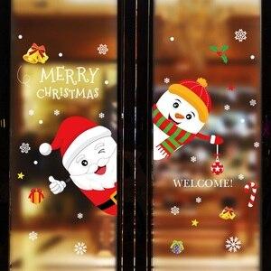 Image 4 - Diy feliz natal adesivos de parede janela de vidro festival decalques santa murais ano novo decorações de natal para decoração de casa novo