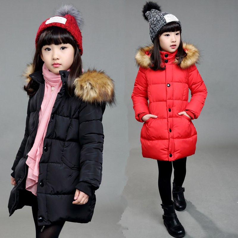 Kids hooded Jackets Fur Collar Cotton-Padded Coats winter Outerwear 4-12Y Girls