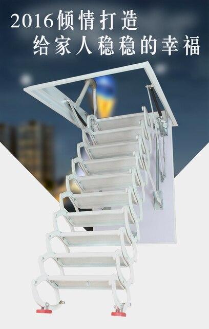 Freeshipping заказ Чердак лестницы телескопические вилла крытый бытовой сложенный стали полуавтоматическая подъема невидимый лестница