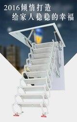Freeshipping personalizado garret escadas telescópica villa interior casa dobrado aço semi elevador escada invisível