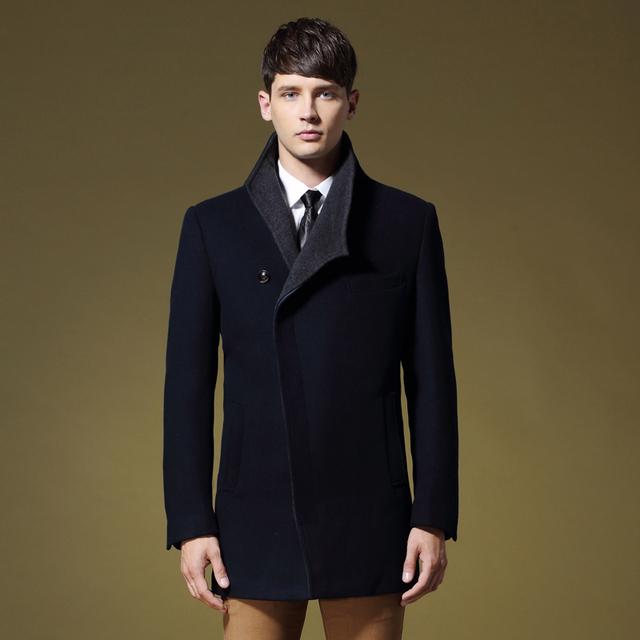 De alta Calidad de Los Hombres Capa de la Chaqueta de Lana Larga Sección de Negocios de Moda De Lana Outwear 3 Colores Slim Fit Invierno Cálido Abrigo M-XXXL