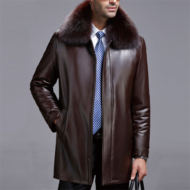 61d02a51b Real fox fur collar high quality natural mink fur liner winter jackets men  long style faux leather coats outerwear 2018 autumn