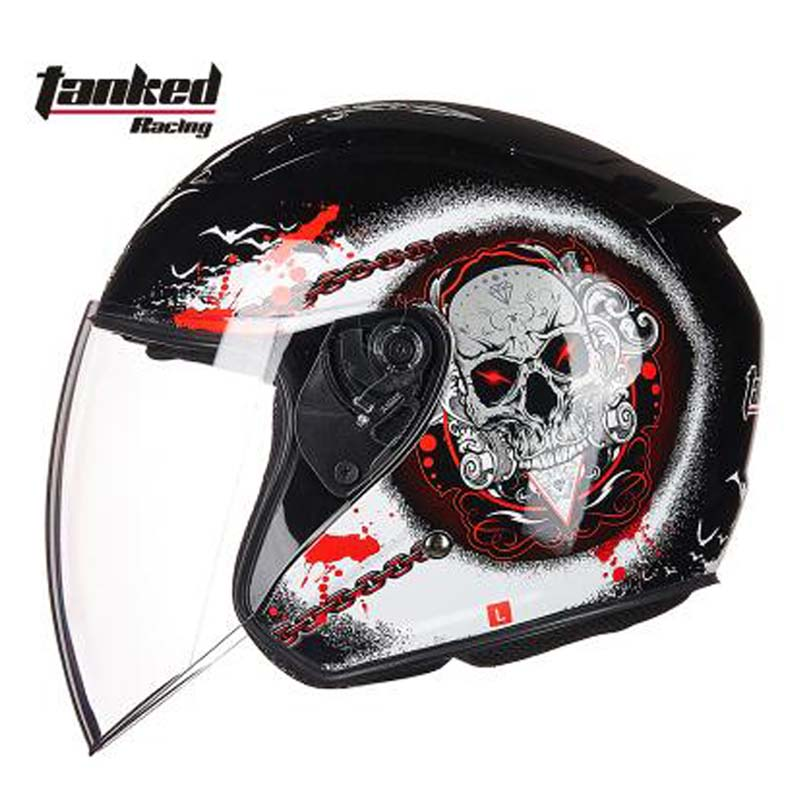 2018 brand Tanked Racing Prey open face electric motorcycle helmet ,women men motorbike biker scooter helmet size M L XL XXL new tanked motorcycle full helmet double lens knight racing motorbike helmet safety caps ece certificate size l xl xxl