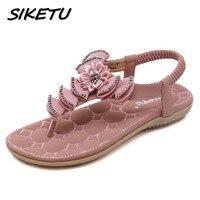 New Summer Bohemia Sandals Shoes Woman Fashion Rhinestone Flower Flip Flop Beach Soft Flat Sandals Elastic