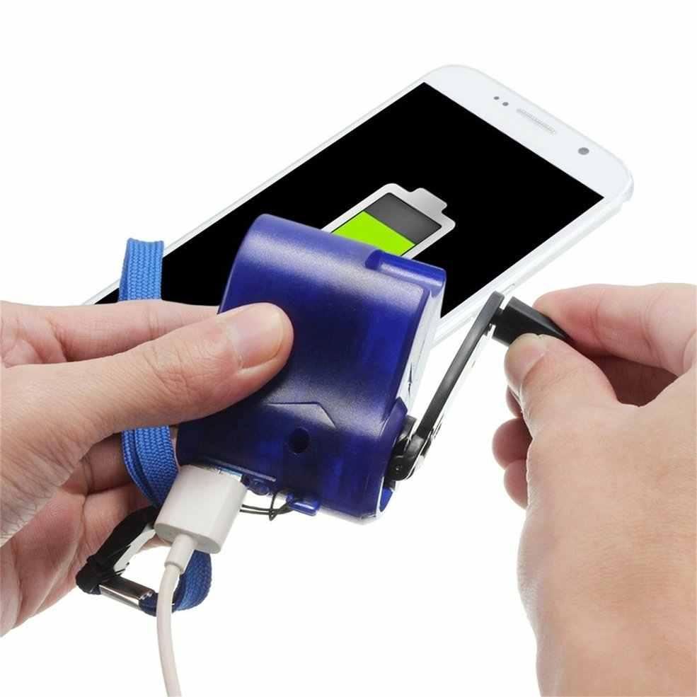 Novo azul plástico e elemento eletrônico de viagem usb carregador de telefone de emergência dínamo mão carregador manual azul