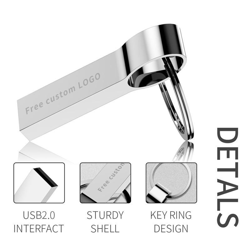 Image 3 - New usb stick 2.0 silver metal flash memory 32GB 16GB 8GB 4GB mini pen drive 128gb Waterproof  pendrive 64gb Free custom LOGO-in USB Flash Drives from Computer & Office