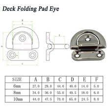 6mm SUS316 Yacht D Ring Deck Folding Pad Eye Trailer Marine Hardware Boat Lashing Ring Staple Cleat 10pcs