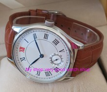 44mm PARNIS White dial Asian 6498 Mechanical Hand Wind movement men's watch Mechanical watches brown Leather Watchband 197