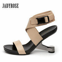 Jady Rose New Fashion Women S Shoes Genuine Leather Gladiator Sandals High Heels Female Wedding Dress