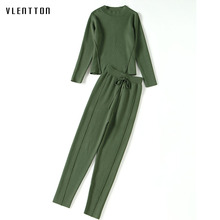 2018 new spring simple color casual knitted sweater pants suit two piece set