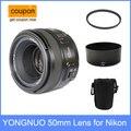 Yongnuo yn 50mm yn50mm f/1.8 af lente + parasol + uv filtro + caja de lente de enfoque automático para cámaras nikon af-s 50mm 1.8G