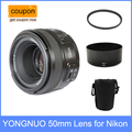 Yongnuo yn 50mm yn50mm f/1.8 lente af + lens hood + uv filtro + lens case set câmeras de foco automático para nikon af-s 50mm 1.8G