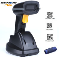 IssyzonePOS Barcode Scanner 2D QR Code Three In One Bluetooth Wireless USB PDF417 lED Bar Code Reader High Speed Scanner