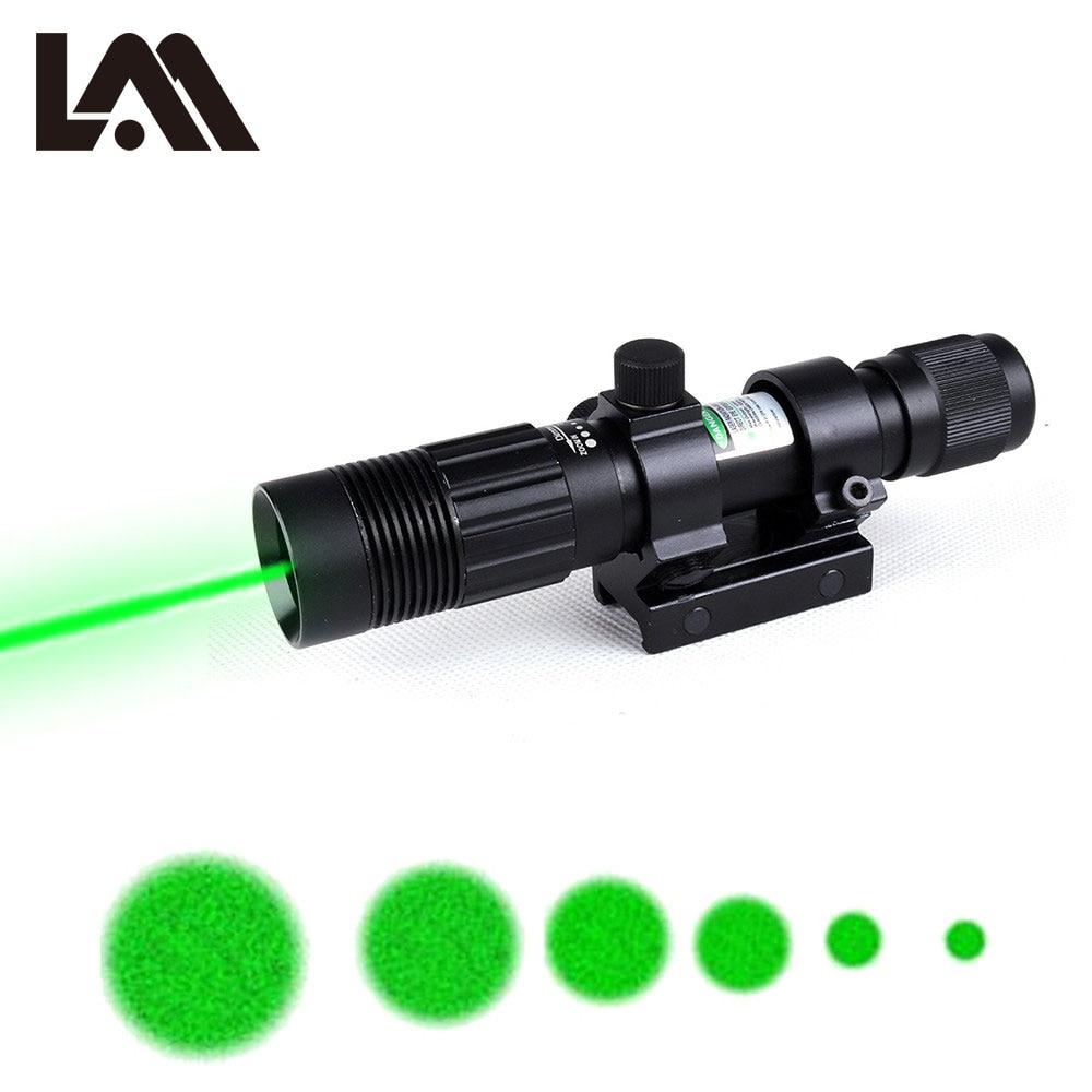Tactical Green Laser Sight Adjustable Beam Dia Green Laser Flashlight Designator Illuminator Hunting Laser with 20mm