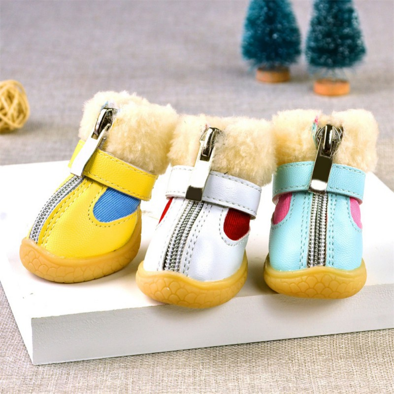 Winter Pet Dog Shoes For Small Dogs Warm Leather Puppy Dog Snow