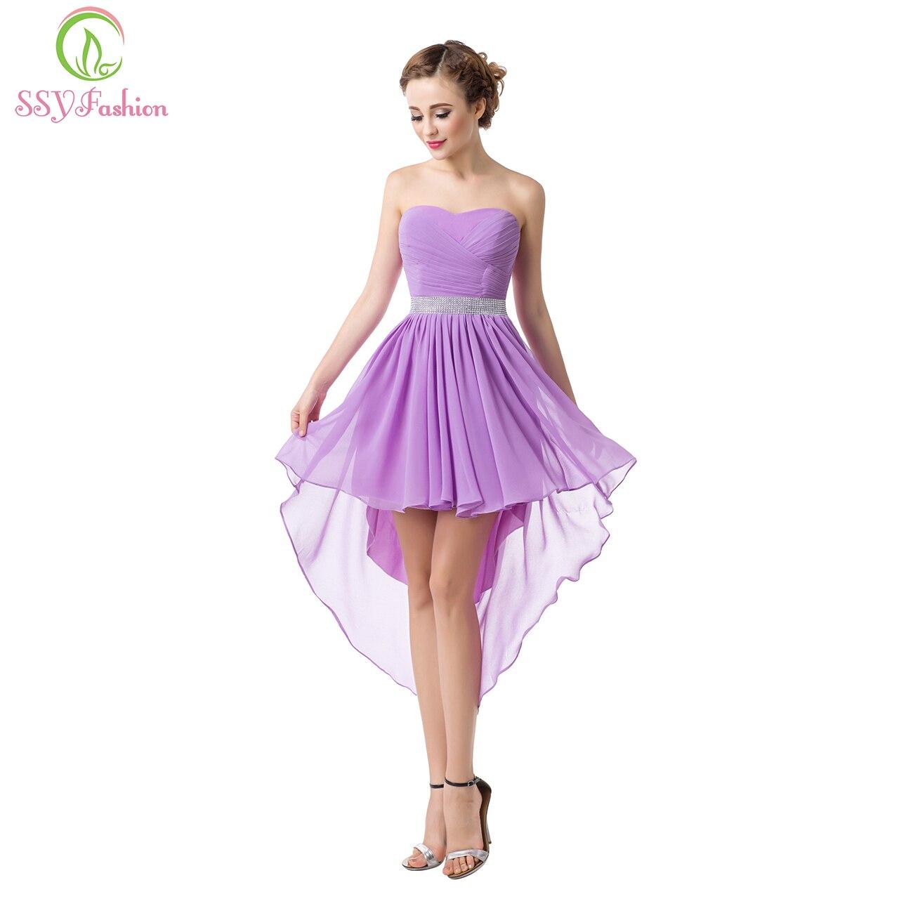 Bridesmaid     Dresses   SSYFashion Women's Sexy Strapless Asymmetrical Chiffon Formal Prom   Dress   Plus Size Bridal Party Gowns