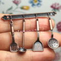 Dollhouse Miniature 1:12 Toy 5 pcs Iron Finish Kitchen Hanging Utensils DM131C